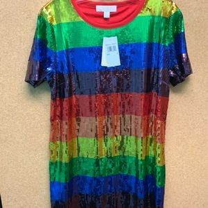 Michael Kors Rainbow Sequined Dress New Size Large